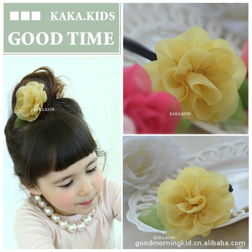 New Childrens Flower Colth Headdress Hair Rope Direct Headdress Tiara Princess Hair Rope ...