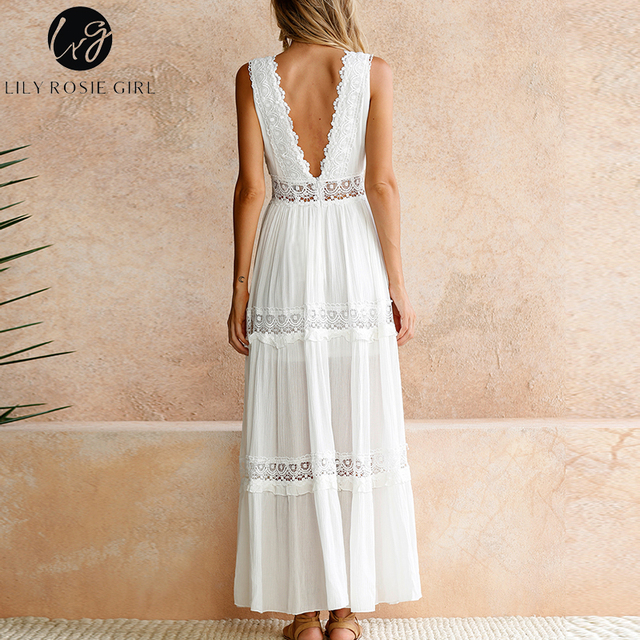 Lily Rosie Girl Sexy Deep V Neck Howllow Out Lace Dess Women Elegant Long Party Club Dresses Sleeveless Maxi Backless Vestidos