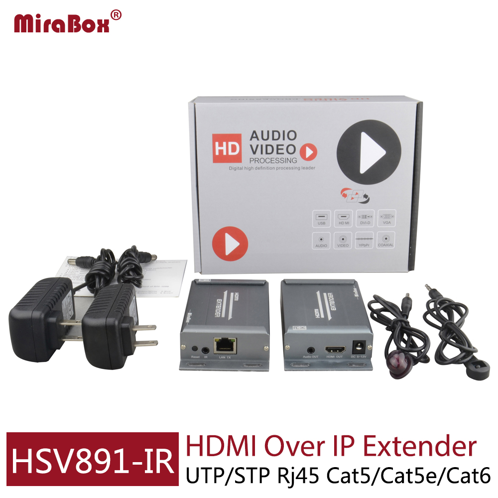 Mirabox HDMI Extender IR TX RX 120M Over IP/Cat5/5e/6 With IR Control HDMI Transmitter Receiver IR Via rj45 1080p For HD TV DVD mirabox coax hdmi ir extender support 1080p full hd 200m 300m 400ft over coaxial cable coax bnc port ir hdmi over coax coaxial