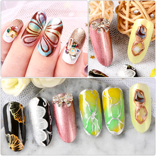 Metallic Color Nail Gel Polish Varnish Lacquer Painting Spider Flowers Drawing Gold Silver Mirror Glitter UV Gel Manicure цена