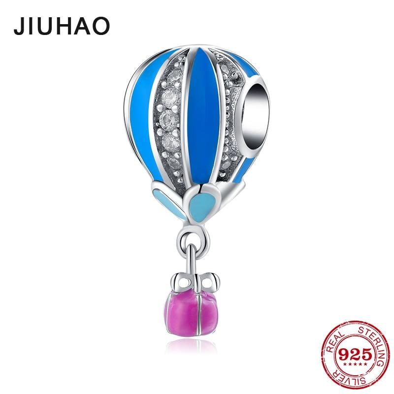 Love travel 925 Sterling Silver blue zircon fire balloon beads fashion 2018 Fit Original Pandora Charm Bracelet Jewelry making