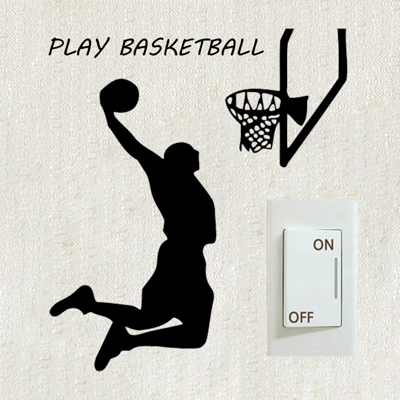 Basketball player slamdunk sports switch sticker creative for Sports decals for kids rooms