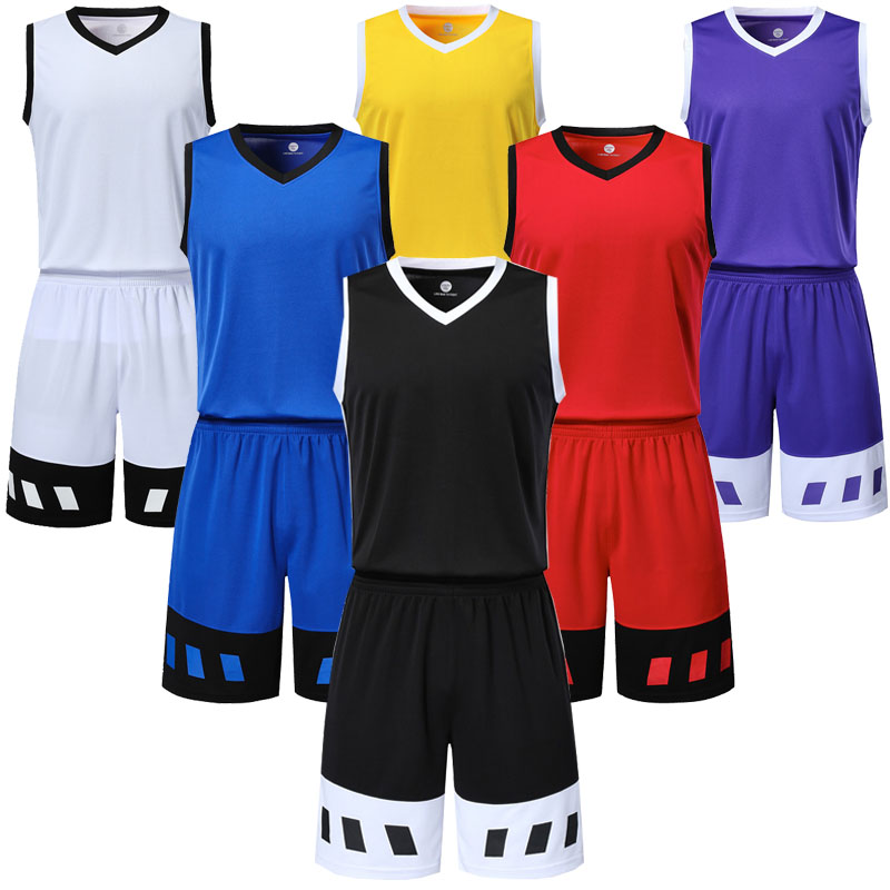 new style b531f 2e618 US $14.32 20% OFF|Men's cheap college basketball sets men blank basketball  jerseys shorts adult running uniforms sports kits customize any logos-in ...