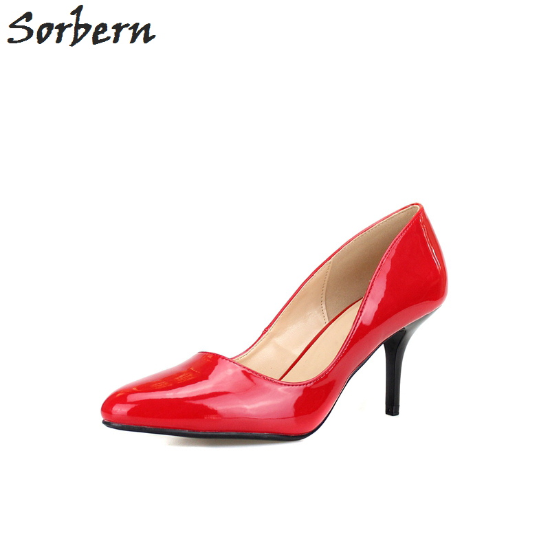 Sorbern Slip On Women Pumps Pointed Toe Patent Leather Ladies Party Shoes Custom Red Bottom High Heels Plus Size 35-46 odetina women sexy stiletto pointed toe high heels ladies party shoes slip on patent leather pumps flower printing big size 43