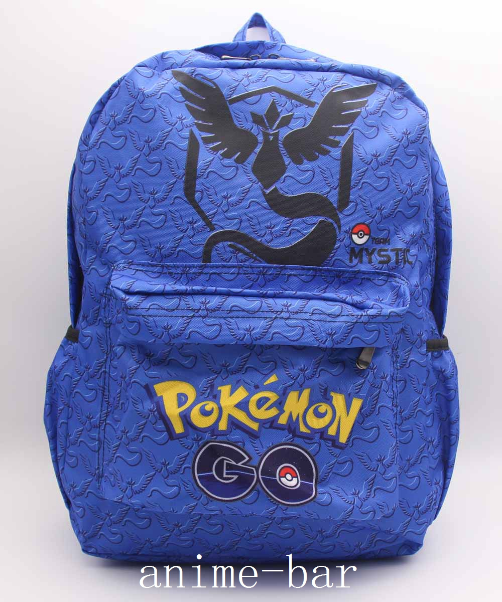 Pokemon GO Blue Team Mystic Articuno Laptop Backpack Anime Shoulder School Bag Unisex Cartoon Student Blue