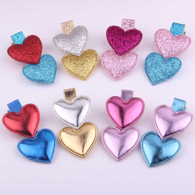 Sweet Girls Hairpin Pu Brilliant Fabric Heart Hair Clips For Young Lady Good Quality Loving Heart Barrettes Hair Accessories