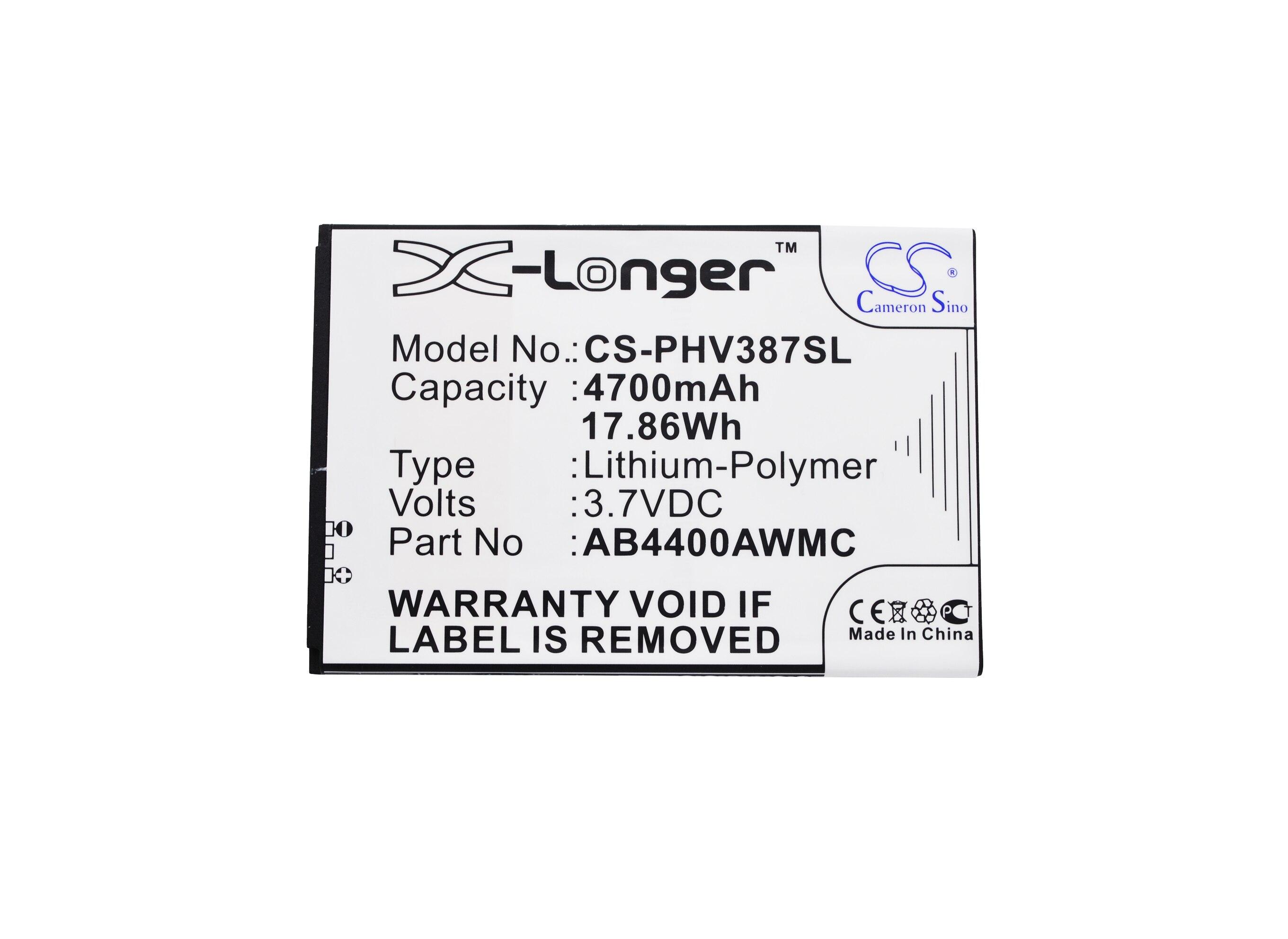 Cameron Sino High Quality 4700mAh Battery AB4400AWMC for Philips Xenium V387