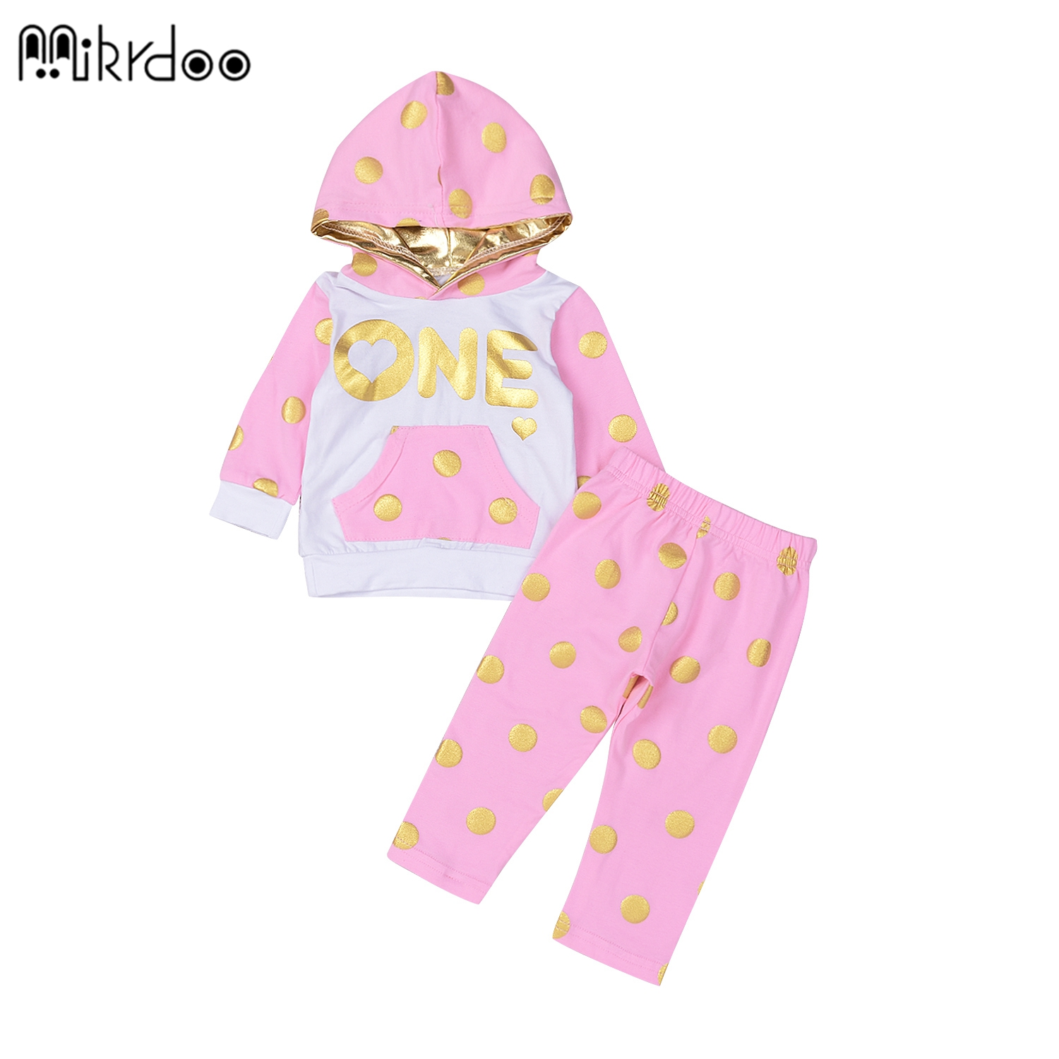HOT SALE baby girl clothes pink gloden dots fashion long pants + hoodie spring winter clothes baby clothing Set long sleeve