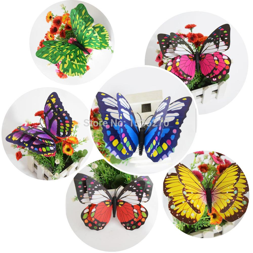 Double Wings 3D Butterfly Wall Stickers Butterflies Decors DIY Decorations  Paper Party Supplies Christmas Wedding Decoration