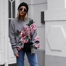 Фотография Flower Embroidery Women Sweaters and Pullovers Gray Knitted Sweater Long Sleeve O Neck Pullovers Autumn Tops  jumper pull femme