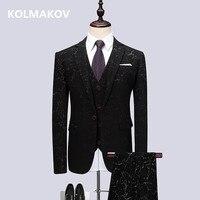 (Jacket+Vest+Pants) Men's Suits Business Slim fit Casual Men Suit Designer Casual Printed Wedding Suits Dress Men Big Sze M 6XL
