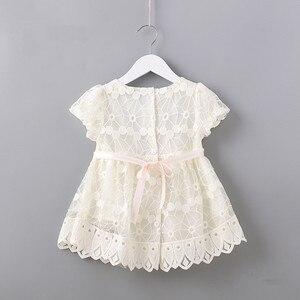 Image 2 - Flores recém nascidos bordado puff manga meninas vestido baptizado festa de aniversário roupas do bebê da criança menina rosa branco 0 2 t