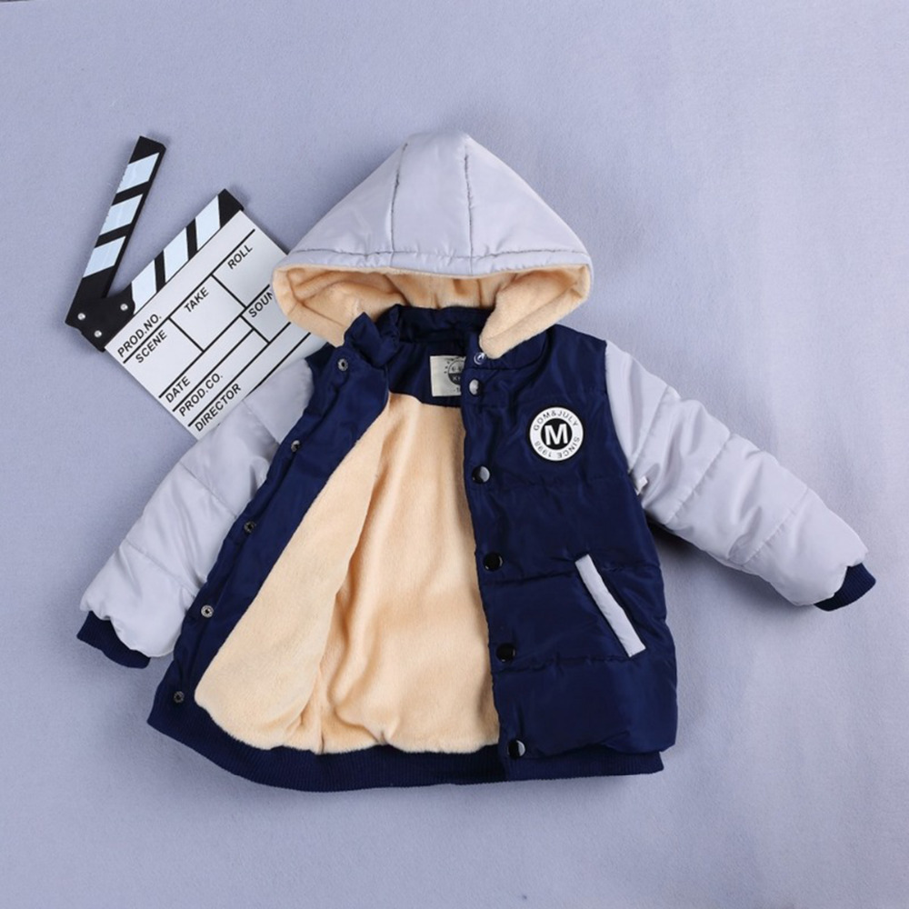 Fight Color Baby Cotton Fashion Winter Coat Boys Girls Outwear Children Thick Warm Snowsuit With Hat Clothing Hooded Snow Wear