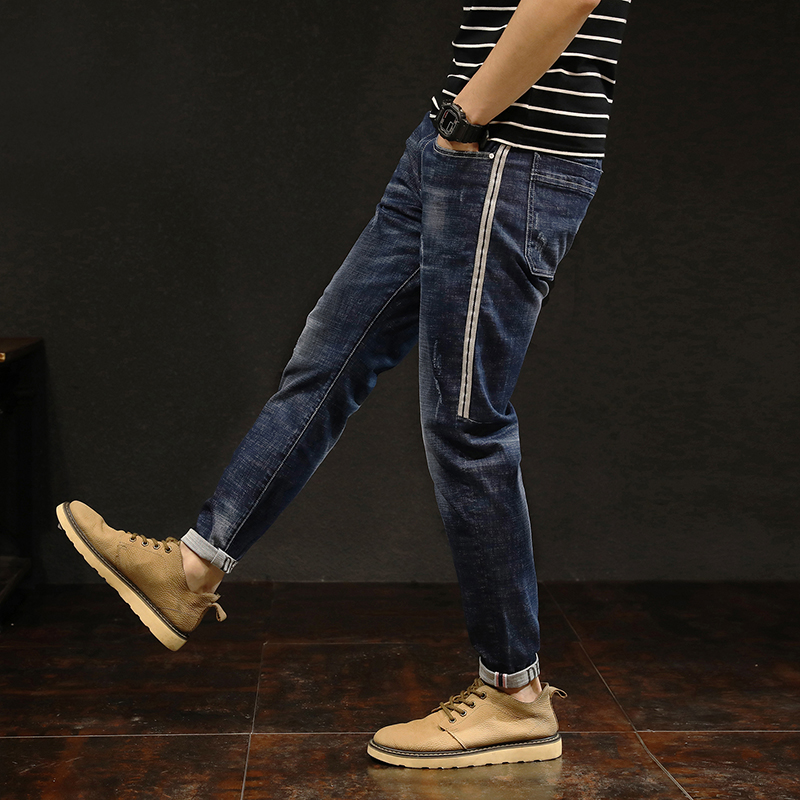 Mens Fashion Skinny Jeans Men High quality 2018 spring new cotton stretch Slim simple style business casual feet hip-hop jeans