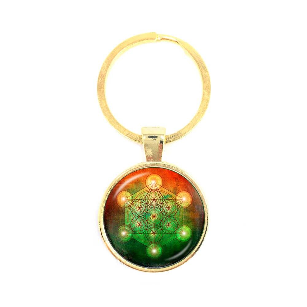 ซาตาน Baphomet Pentagram พวงกุญแจ Art Glass รอบโดมจี้ Keyring ของขวัญ Handcrafted สำหรับ Pray สำหรับความสุข KeepTtalisman