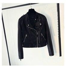2018 Autumn Women Faux Leather Coat Zipper Motorcycle Pu Leather Jackets Moto Biker Black Short Slim