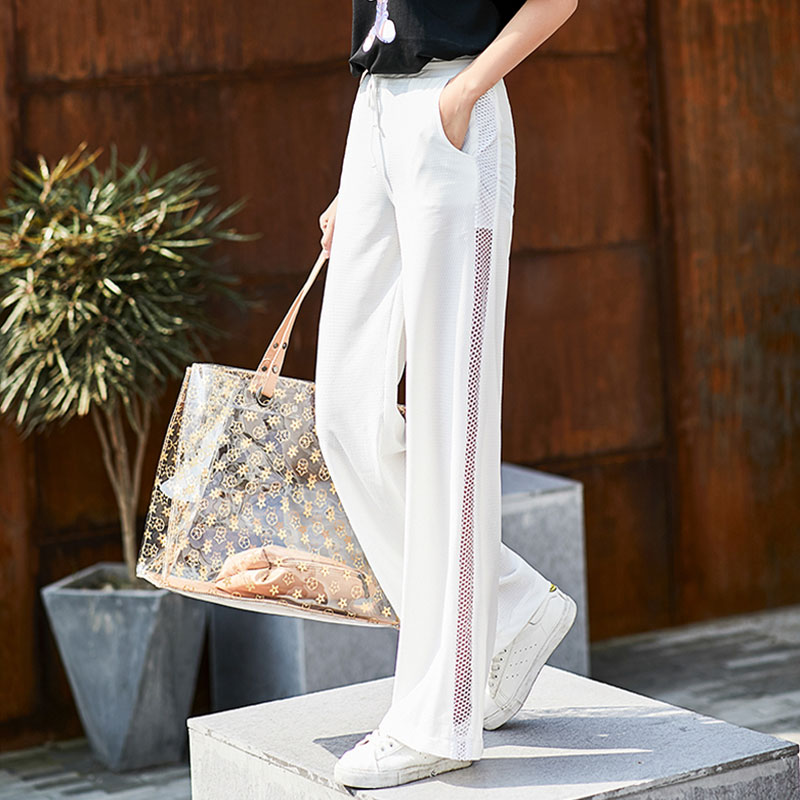 White Breathable Wide Leg Sweatpants Women Summer Seethrough Elastic High Waist Streetwear Jogger Trousers Women Plus Size Pants