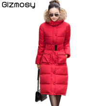 Gizmosy! Winter Jacket Women Down Cotton Coat Slim Long Parkas Ladies Cotton Padded Plus Size Real Fur Collar For Women BN032