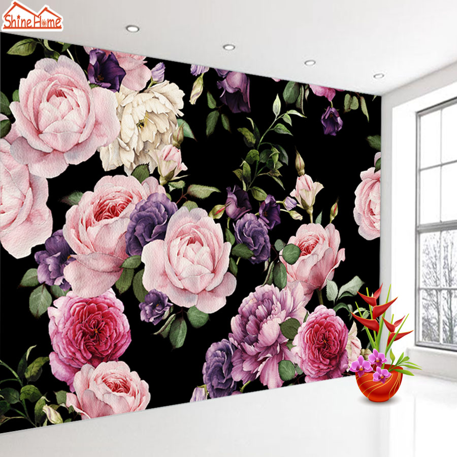 Black Leather Living Room Garden Rose And Peony: ShineHome Two Style Custom 3D Picture Wallpaper Rose Peony