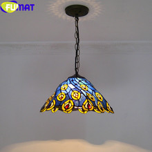 FUMAT Tiffany pendant lights LED Stained Glass Peacock Shade Hanglamp European hanging light fixture suspension luminair Lamp fumat stained glass pendant lamps european style baroque lights for living room bedroom creative art shade led pendant lamp