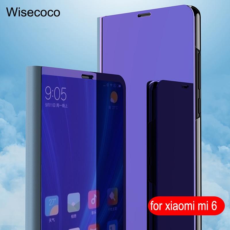 Luxe Flip Stand Tactile Pour Xiaomi Mi 6 cas En Cuir Intelligent Clair voir Téléphone Cas Pour xiomi Mi6 xiaomi6 360 pleine Couverture 5.15 pouce