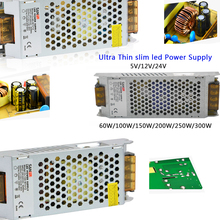цены на Ultra Thin Power Supply AC110-240V to DC12V 24V 60W/100W/150W/200W/250W/300W led strip Driver light transformer  в интернет-магазинах