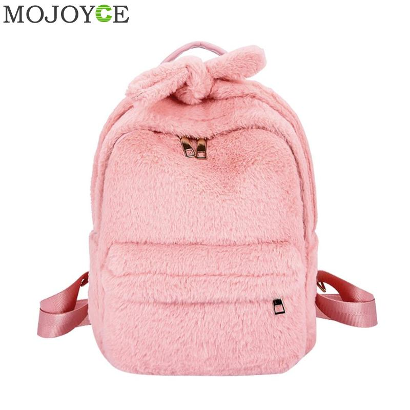 Cute Faux Fur Backpack Solid Color Bownknot Winter Soft Women s Mini Furry  Fluffy Plush Backpack Rucksack c22afc54e76ea