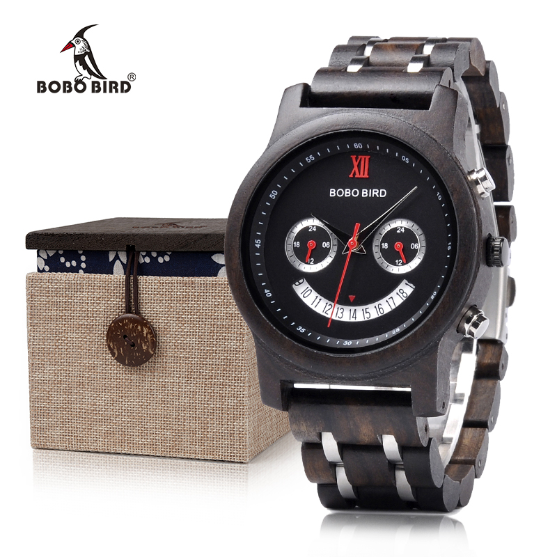 BOBO BIRD Smile Face Unique Dial Wood Watch with Wood & Stainless Steel Band Chronograph Timepiece Gift Box