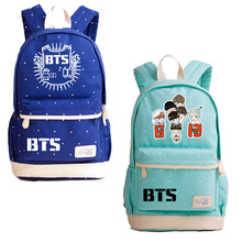 Купить с кэшбэком BTS Backpack Bangtan Boys Canvas School Bag For Teenagers High Quality Laptop Bags Boys Girls Travel Bags Bolsas Feminina