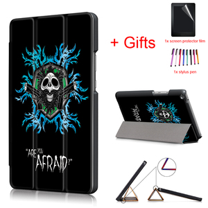 New Case for HUAWEI MediaPad T3 8.0 Tablet,Fashion Print PU Leather Light Weight Magnet Stand Protective Cover Case +Film+Pen