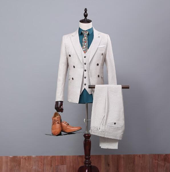 Custom Made High Quality Groom Tuxedos Groomsmen Suit Bridegroom/Wedding/Prom/Dinner Suits (Jacket+Pants+Vest) For Best man