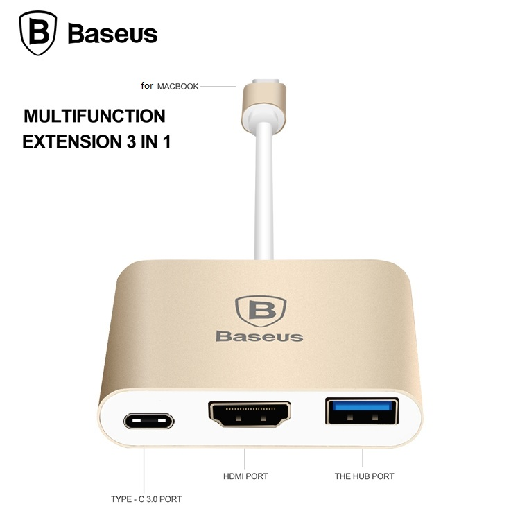 BASEUS Brand Aluminum Quality Type-C to HDMI + Type C + HUB Converter Adapter 3 in 1 for New MacBook