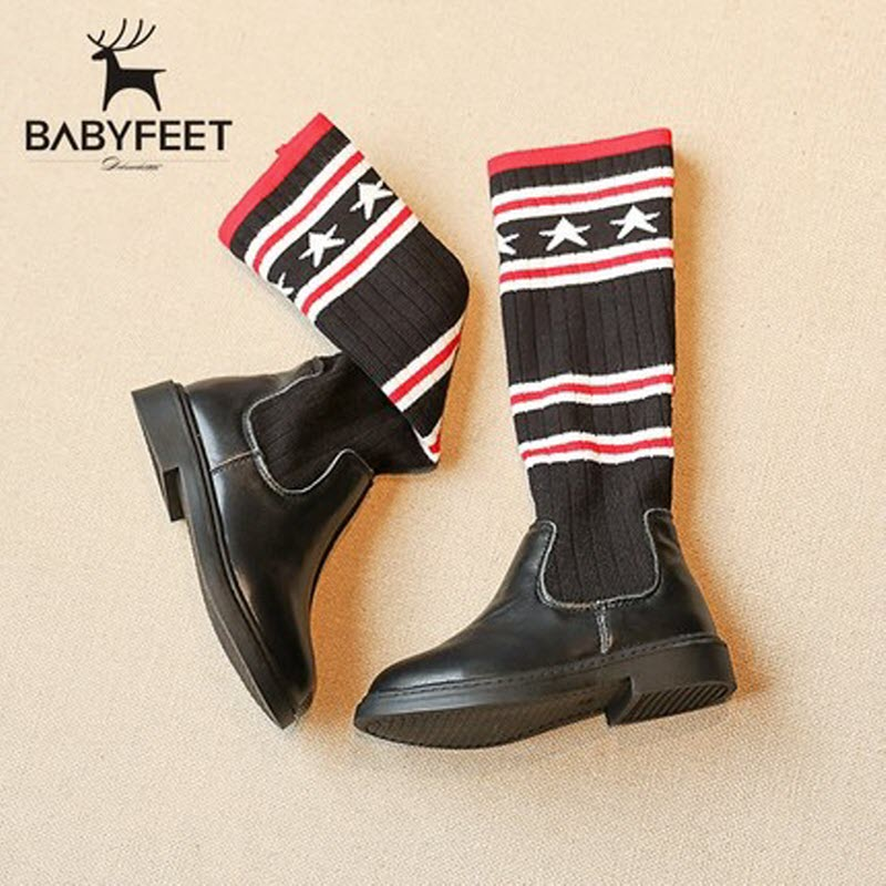 babyfeet 2017 Winter Genuine leather Shoes baby toddler princess children shoes knit socks boots girl booties knitting stockings