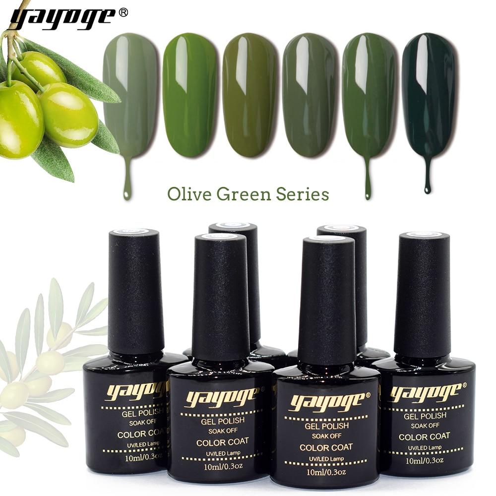 YAYOGE UV nail gel polish 10ml 0.3oz 6 colors Olive green series soak off LED gel nail polish base and top coat for nail art