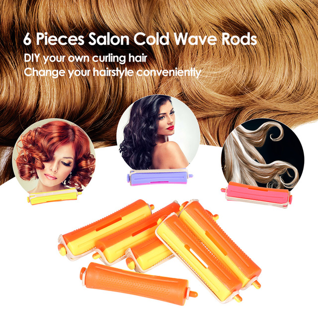 6 Pieces Salon Cold Wave Rods Hair Roller With Rubber Band Curling Curler Perms Hairdressing Styling