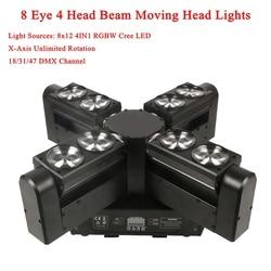 Nowy LED 8Eye 4 głowy ruchome światło głowy LED 8X12 W RGBW 4IN1 laserowe światła sceniczne DMX512 Disco DJ bar Party Show laserowe oświetlenie sceniczne w Oświetlenie sceniczne od Lampy i oświetlenie na