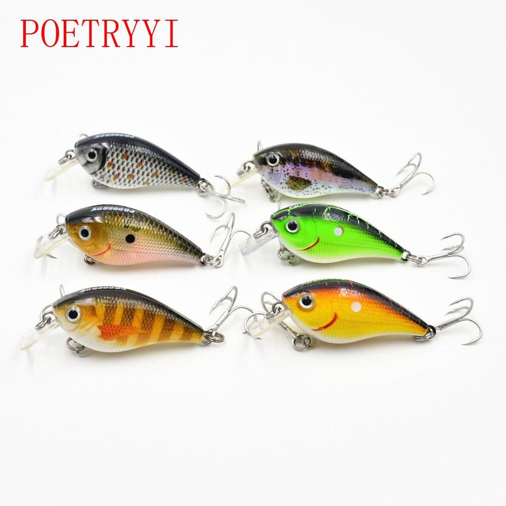 6Pcs/lot 5.5cm 6.2g Fat Body Size Loud Sound 1 Meter Depth #6 Treble Hooks Assorted Colors Crankbait Fishing Lure