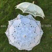 送料無料ホワイト&ベージュ色のレース傘ウェディングレースパラソル手作りで綿生地刺繍デザイン