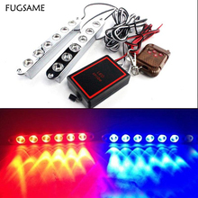 Wireless Remote 2*6LED 12W Car Daytime Running light DRL Waterproof warning Strobe Flash Emergency Firemen poice