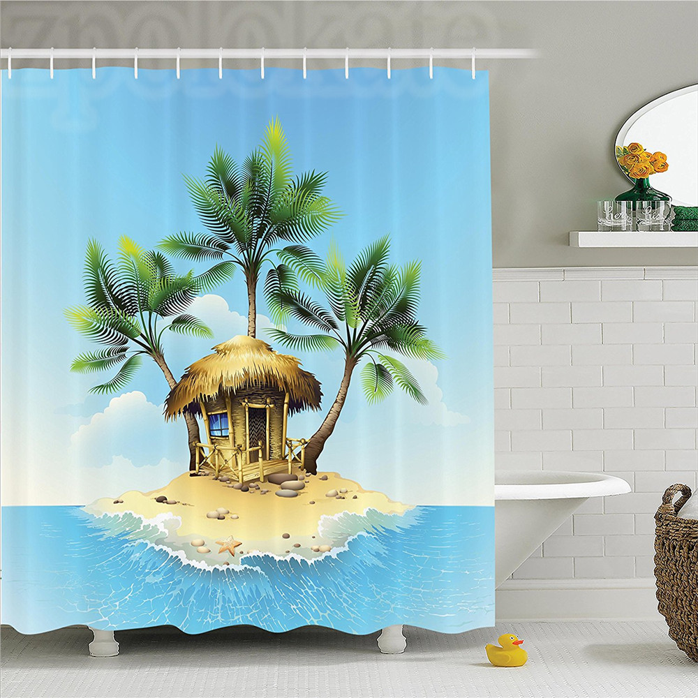 Tropical Decor Shower Curtain Set Tropical Wooden Bungalow And Three Palm Trees In A Small Island Cartoon Artwork Bathroom Acces