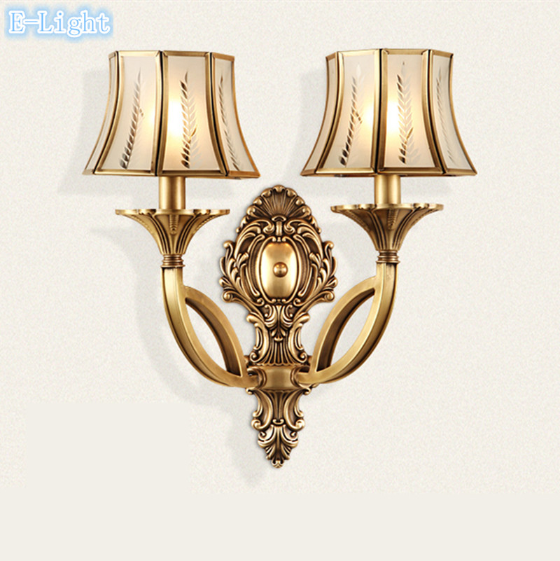 European 2 bulbs modern wall lamps bronze use leaf lampshade glass european 2 bulbs modern wall lamps bronze use leaf lampshade glass cover for living room copper brass home wall lights bedroom in led indoor wall lamps from mozeypictures Image collections