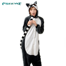 2016 New Pajamas Adult Anime pyjamas women Unisex Flannel Animal Pyjama Cosplay Onesie Sleepwear Ring-tailed lemur nightgown