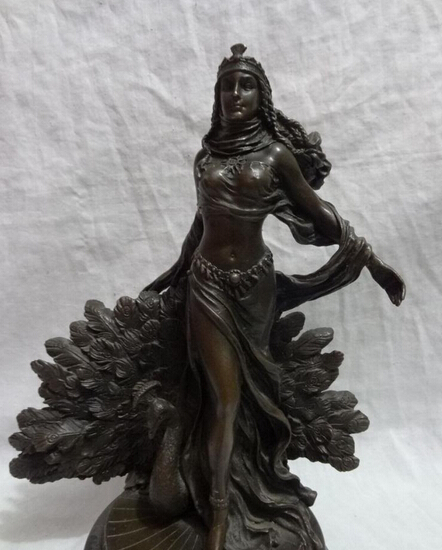 12 Chinese Bronze Western Art Sexy Belle Lady Woman Peacock Statue Marble Base R0711 B040312 Chinese Bronze Western Art Sexy Belle Lady Woman Peacock Statue Marble Base R0711 B0403
