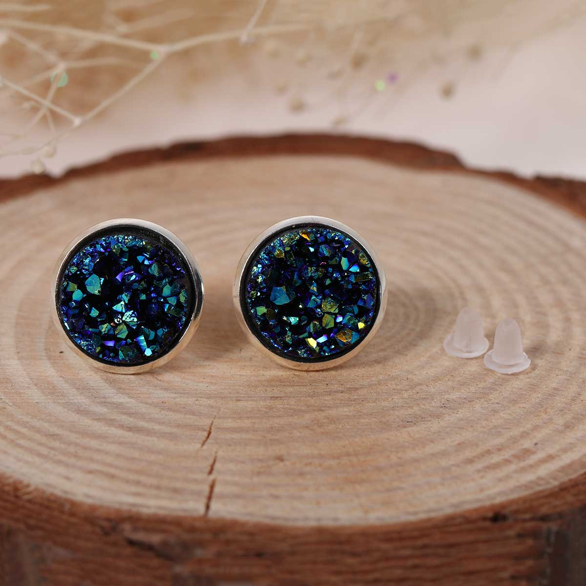 Doreen Box Copper Ear Post Stud Earrings Round Royal Blue AB Color W Stoppers Fashion Jewelry