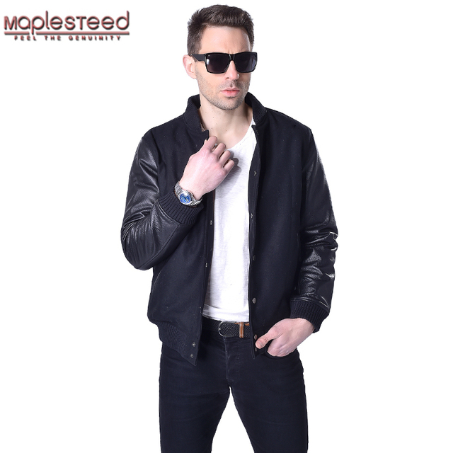 Black wool coat with leather sleeves