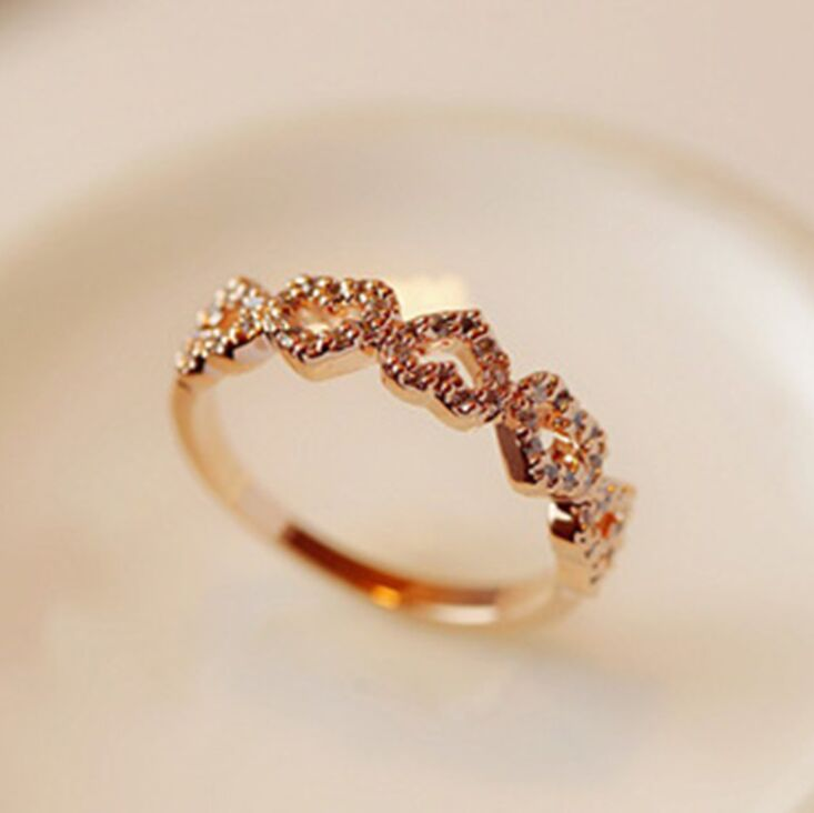 Womens heart shape Cute full crystal Rings Electroplate Rose gold Not fade quality Rings fashion jewelry noble stylish Rings