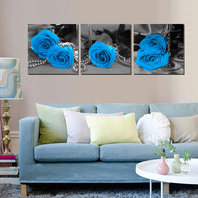 Home Decor Canvas Wall Art Painting Blue Rose Wall Pictures For