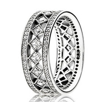 Authentic 925 Sterling Silver Ring For Women Vintage Fascination Ring Clear CZ Wide Anel Wedding Party