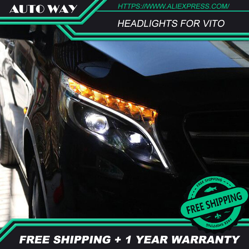 Car Styling Head Lamp case for Benz vito 2017 LED Headlights LED Headlight H7 D2H HID