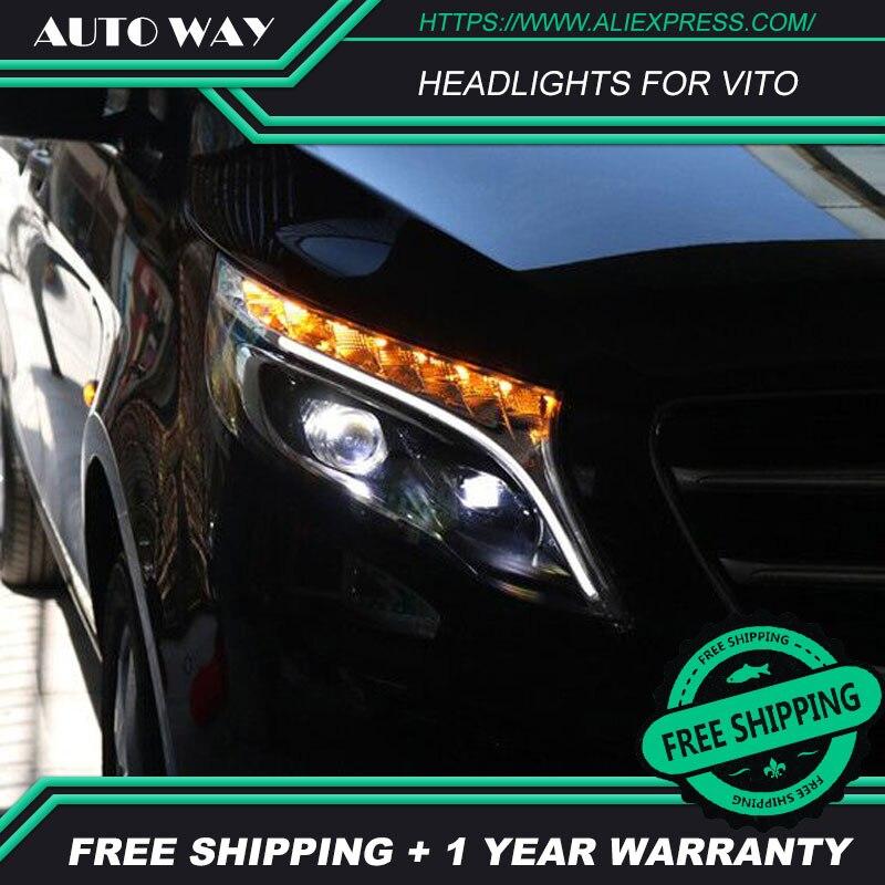Boîtier de lampe de tête de style de voiture pour Benz vito 2017 phare LED s phare LED H7 D2H HID ange Eye Bi faisceau xénon